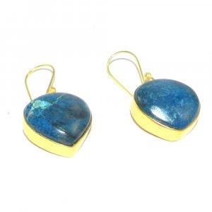 Chrysocolla 18k Gold plated Bezel Earring
