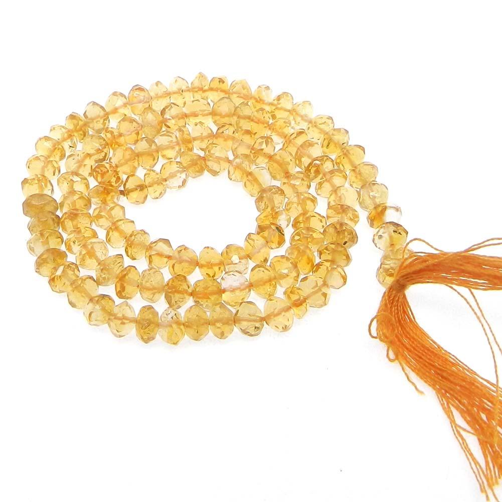 Citrine 4.5mm Roundel Facet 14 inch Strand Beads