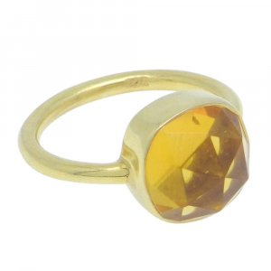 Citrine Hydro 11x11mm Cushion 925 Silver With Gold Plated Bezel Set Ring