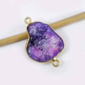 Color Dyed Druzy 28x19mm Fancy 925 Sterling Silver Gold Plated Double Loop Connector