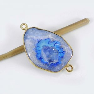 Color Dyed Druzy 33x19mm Fancy 925 Sterling Silver Gold Plated Double Loop Connector