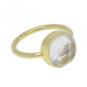 Crystal 10x10mm Cushion 925 Silver With Gold Plated Bezel Set Ring