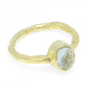 Crystal 8x7mm Oval 925 Silver With Gold Plated Bezel Set Ring
