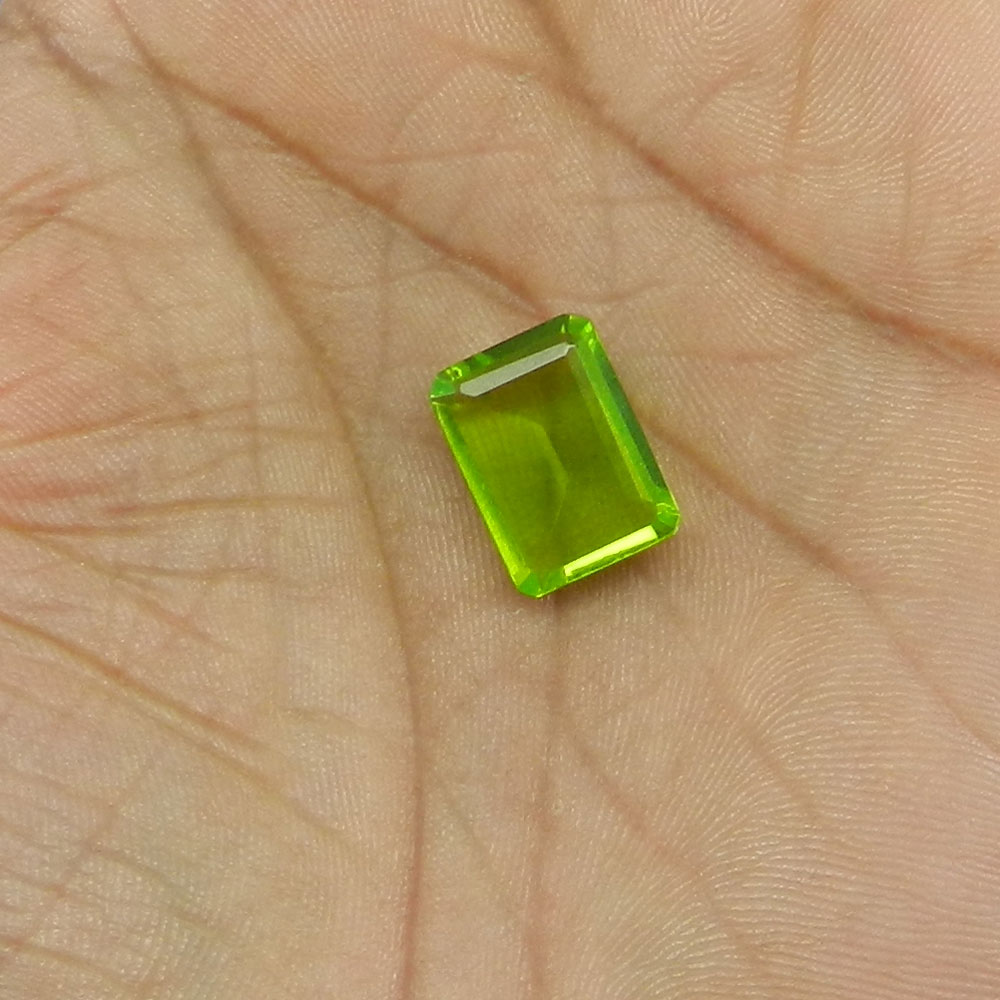 Crystal And Chrome Diopside Foil Doublet 15x11mm Rectangle Cut 8.5 Cts