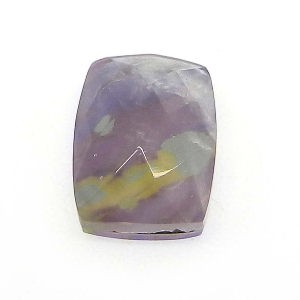 Crystal And Purple Mohave Doublet 14x10mm Rectangle Cut 7 Cts