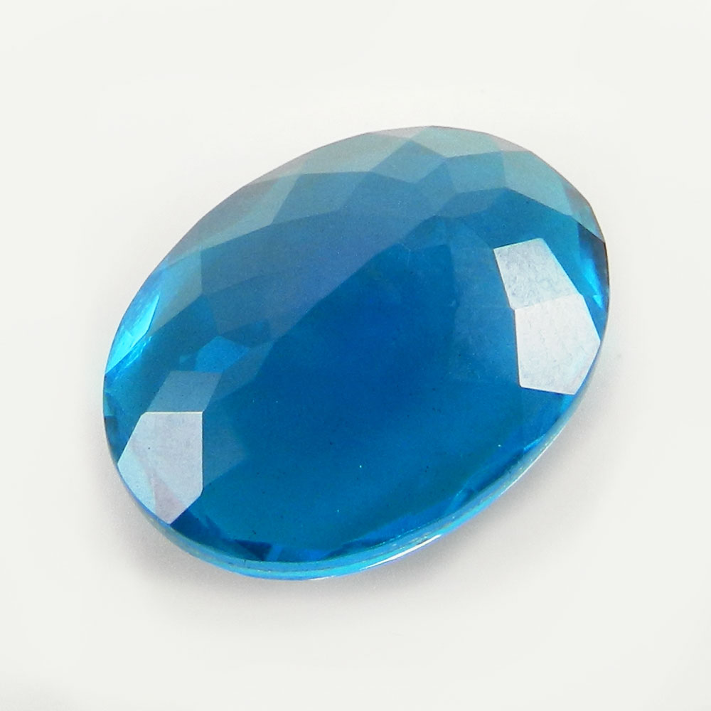 Crystal and Teal Blue Foil Doublet 16x12mm Oval Cut 8.2 Cts