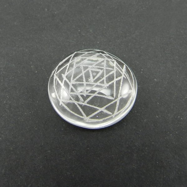 Crystal Carving Shree Yantra 18mm Round Cabochon 15.0 Cts