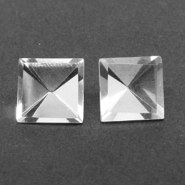 Crystal Quartz 11x11mm Square Pyramid Cut 6.60 Cts