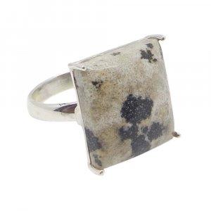 Dalmatian Jasper 17x15mm Rectangle 925 Silver Prong Set Ring