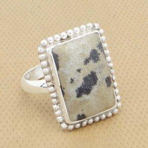 Dalmatian Jasper 22x16mm Rectangle 925 Silver Bezel Set Designer Ring