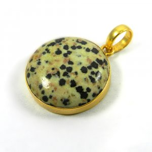 Dalmatian Jasper 40mm 18k Gold Plated Bezel Pendant