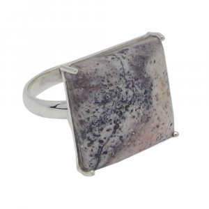 Dendritic Opal 17x17mm Square 925 Silver Prong Set Ring