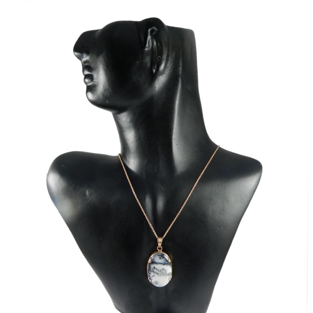 Dendtritic Opal Rose Oval 46mm Gold Plated Prong Set Pendant