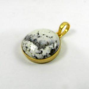 Dentritic Opal 30mm 18k Gold Plated Bezel Pendant