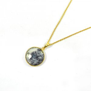 Dentritic Opal 31mm 18k Gold Plated Bezel Chain Pendant