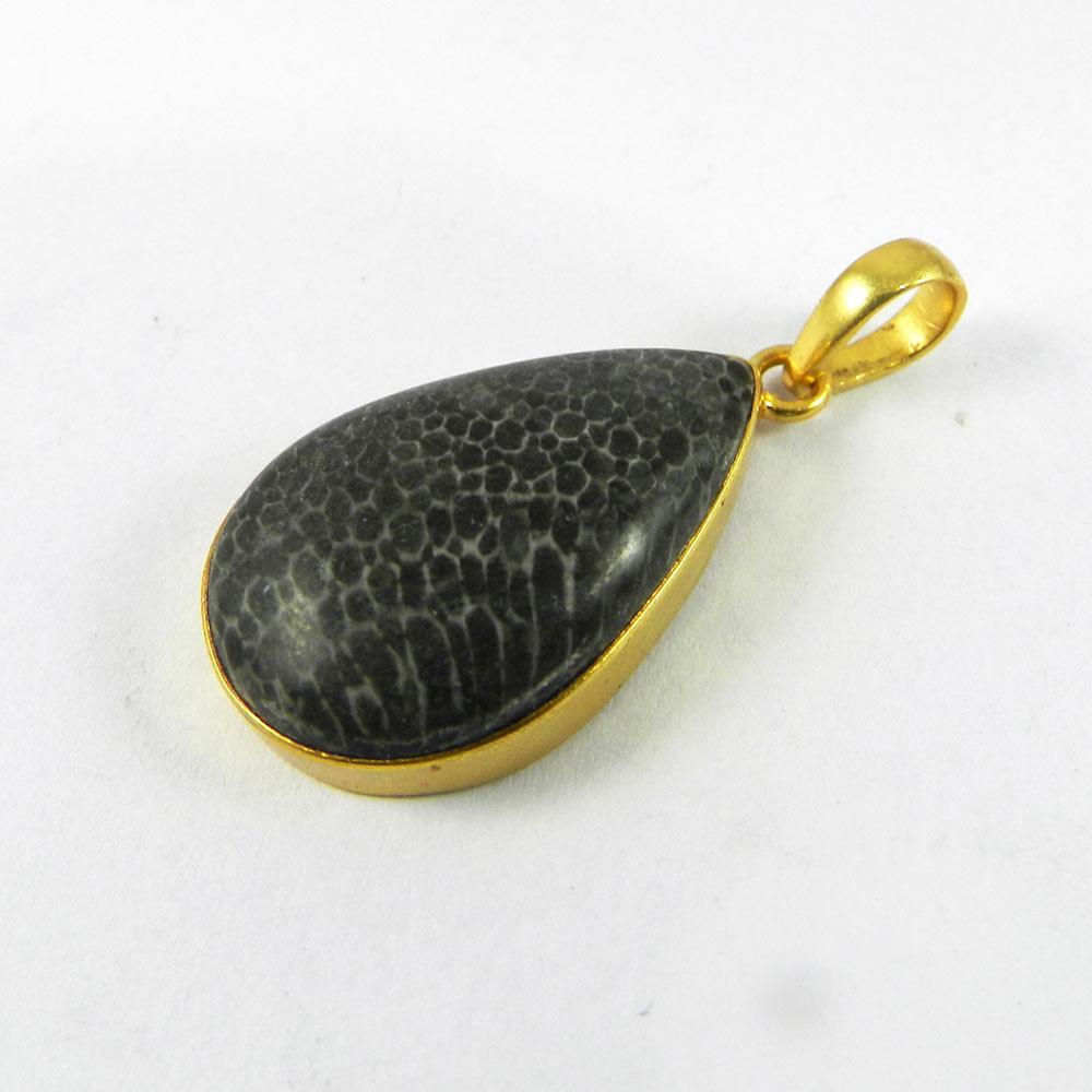 Dinosaur Bone 40mm 18k Gold Plated Bezel Pendant