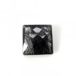 Elegant Gemstone Black Ruitle Quartz 16x16mm Square Checker Cut 13.20 Cts