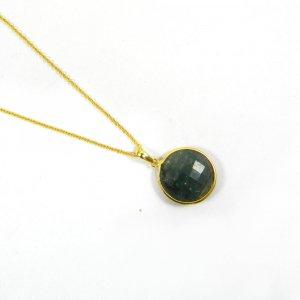 Emerald Corundum 31mm 18k Gold Plated Bezel Pendant