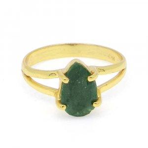 Emerald Corundum 9x6mm Pear 18k Gold Plated Silver Prong Set Ring