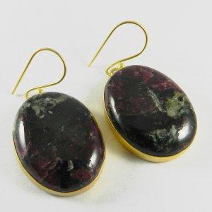 Eudialyte 18k Gold Plated Bezel Earring