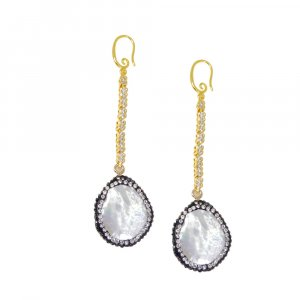 Exclusive Biwa Pearl Long line Gold Plated Wholesale Fashion Earring