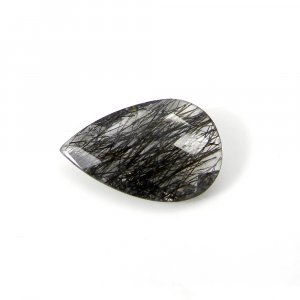 Exclusive Black Ruitle Quartz Gemstone 21x14mm Pear Checker Cut 10.10 Cts