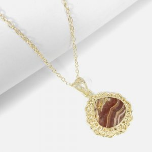 Exclusive Frausted Rhodochrosite 18K Gold Plated Designer Pendant With Chain