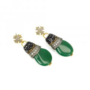 Exclusive Green Onyx Gold Plated Handmade Fashion Earring