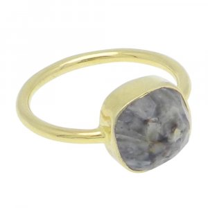 Fancy Jasper 10x10mm Cushion 925 Silver With Gold Plated Bezel Set Ring