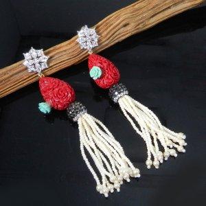 Flower Carving Fancy Gemstone Designer Women Earring