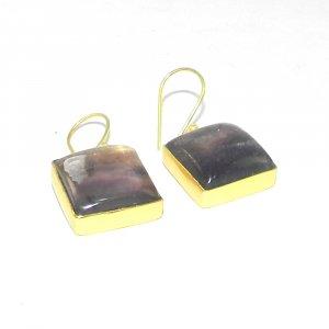 Fluorite Earring 18k Gold plated Bezel Earring