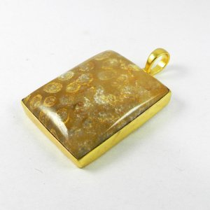 Fossil Coral 46mm 18k Gold Plated Bezel Pendant
