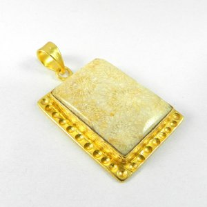 Fossil Coral 49mm 18k Gold Plated Bezel Pendant