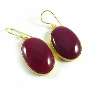 Fuschia Chalcedony 18k Gold Plated Bezel Earring