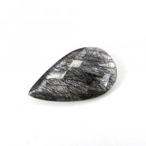 Genuine Black Ruitle Quartz Gemstone 29x16mm Pear Checker Cut 18.25 Cts
