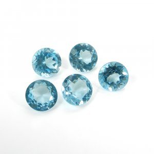 Genuine Blue Topaz 8mm Round Faceted Cut 2.32 Cts