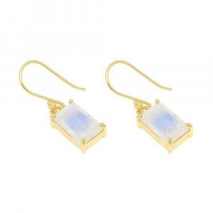 Gold Plated  Silver Rainbow Moonstone Rectangle Gemstone Dangle Earrings