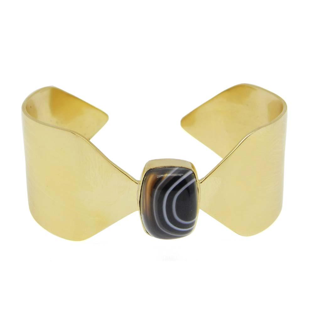 Gold Plated Black Banded Agate Rectangle Bezel Set Cuff Barcelet