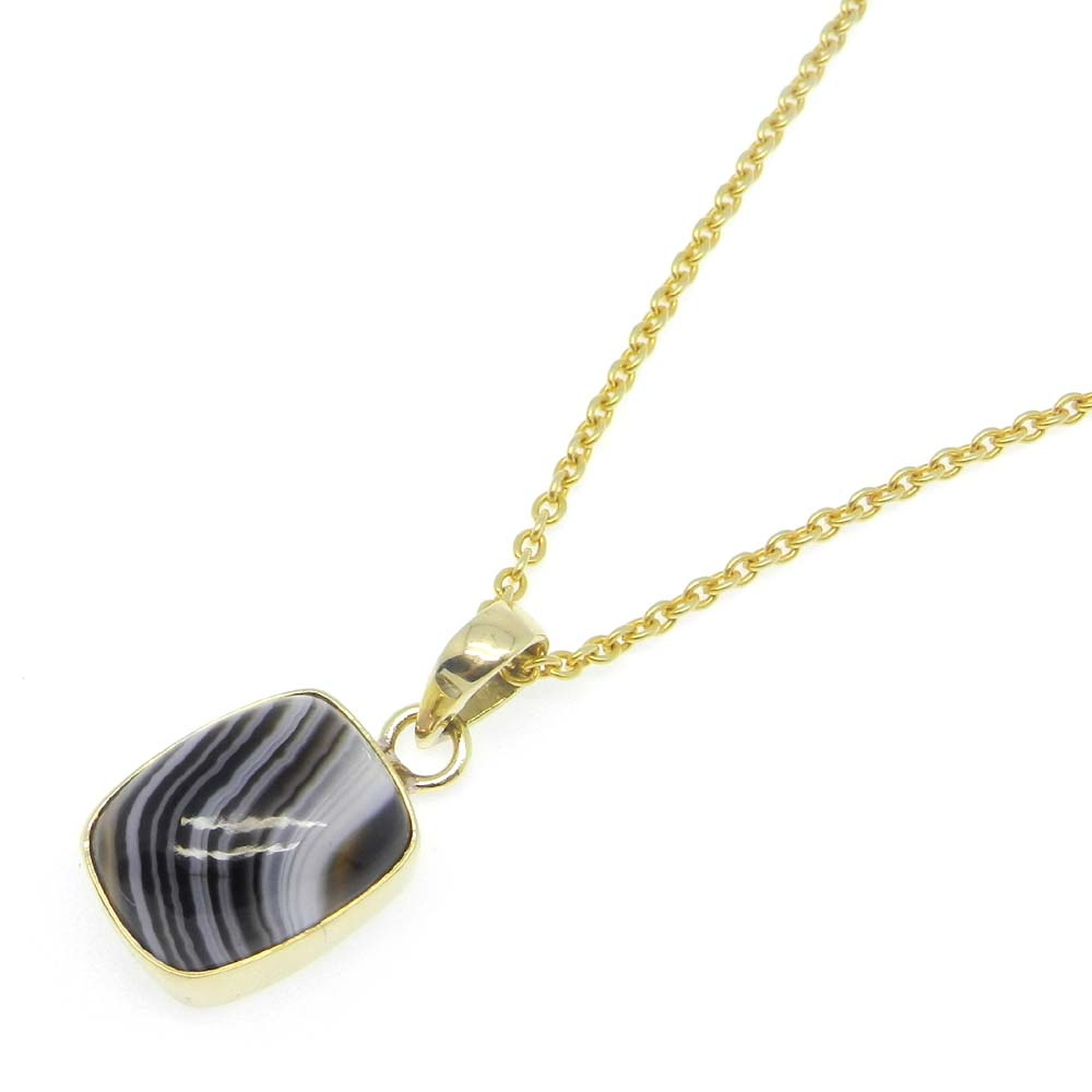 Gold Plated Black Banded Agate Rectangle Bezel Set Pendant With Chain