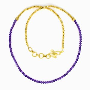 Gold Pyrite & Amethyst Beads Necklace Brass 18K Gold Plated 14.58 Gram 3mm 22 Inch