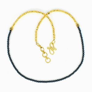 Gold Pyrite & Black Pearl Beads Necklace Brass 18K Gold Plated 13.86 Gram 3mm 22 Inch