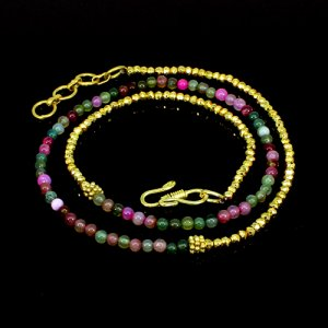 Gold Pyrite & Multi Agate Beads Necklace Brass 18K Gold Plated 16.42 Gram 4mm 22 Inch