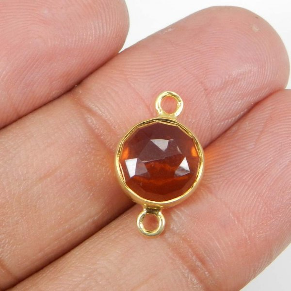 Golden Citrine Hydro 18x11mm Round Silver With Gold Plated Double Loop Connector