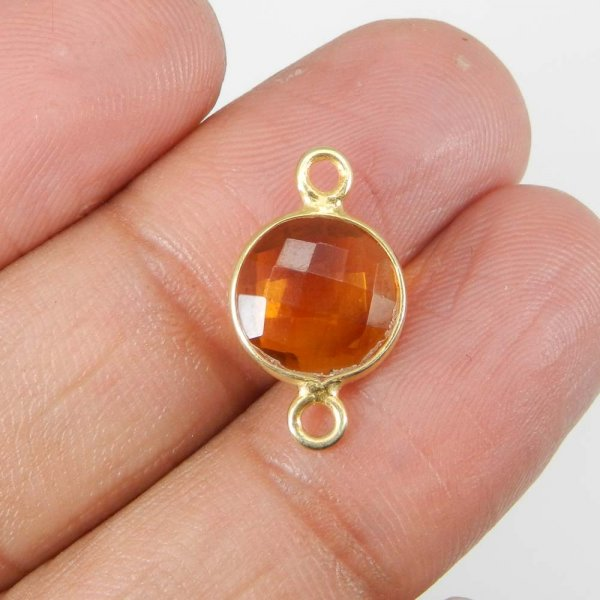 Golden Citrine Hydro 19x11mm Round Silver With Gold Plated Double Loop Connector