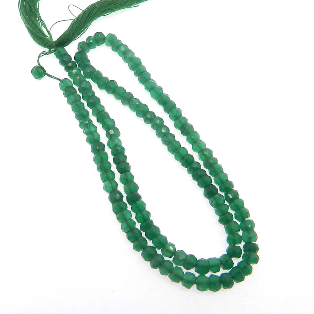 Green Agate 4mm Roundel Facet 14 inch Strand Beads