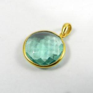 Green Amethyst 31mm 18k Gold Plated Bezel Pendant