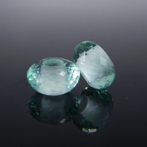 Green Amethyst Big Hole Roundel Faceted Beads 14x8x5.5mm
