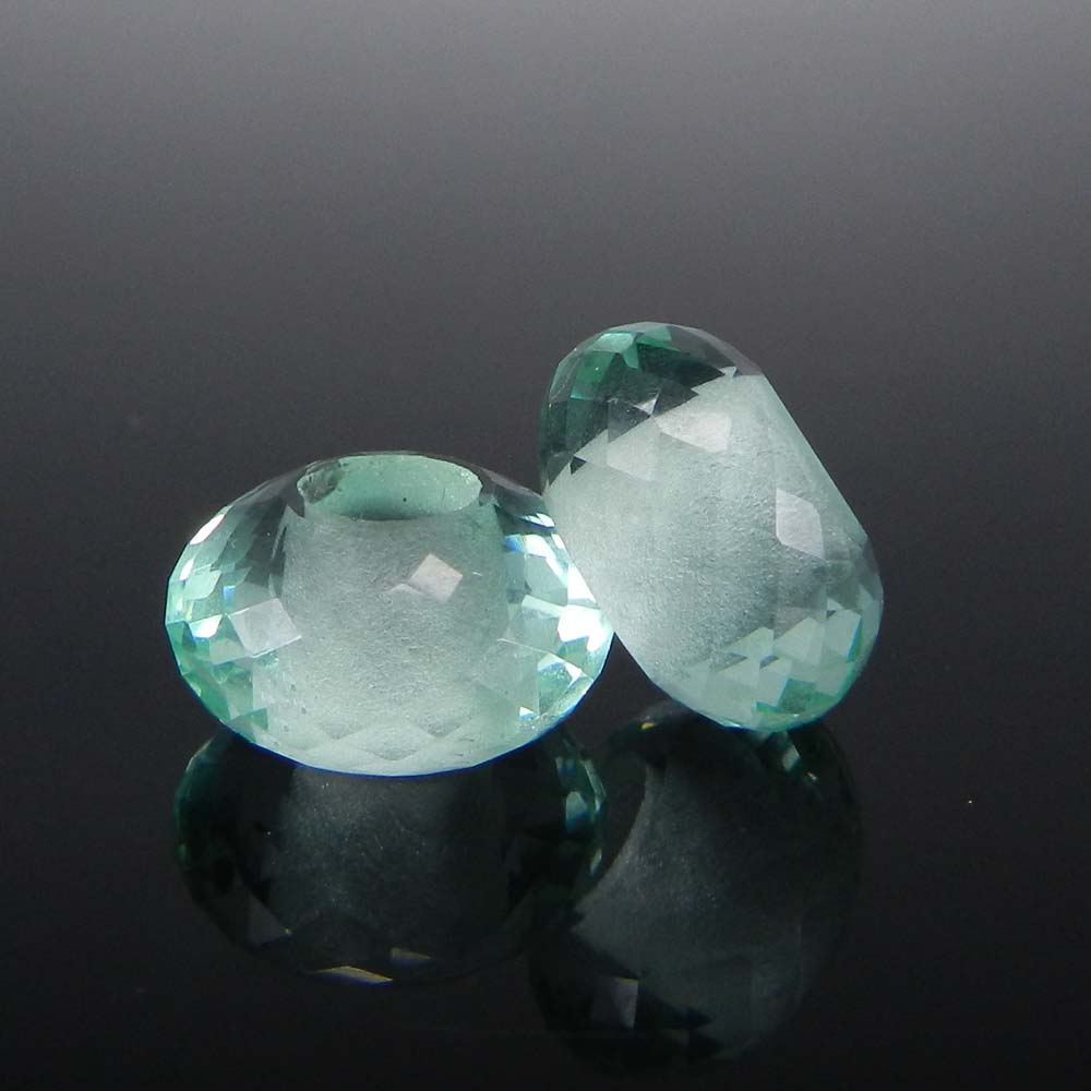 Green Amethyst Hydro 14x8x5mm Roundel Facet Beads