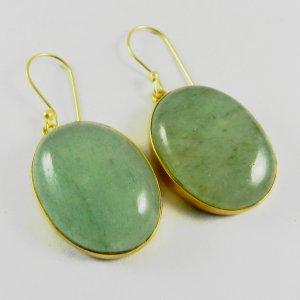 Green Aventurine 18k Gold Plated Bezel Earring