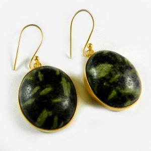 Green Cola jasper 18k Gold Plated Bezel Earring